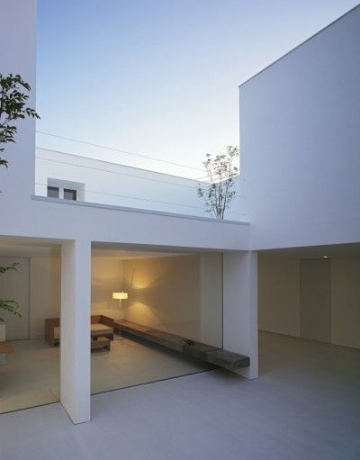 Takuro Yamamoto Architects. Patio. Covered. Outdoor Space. Home. Minimalist. Design. Architecture. White.