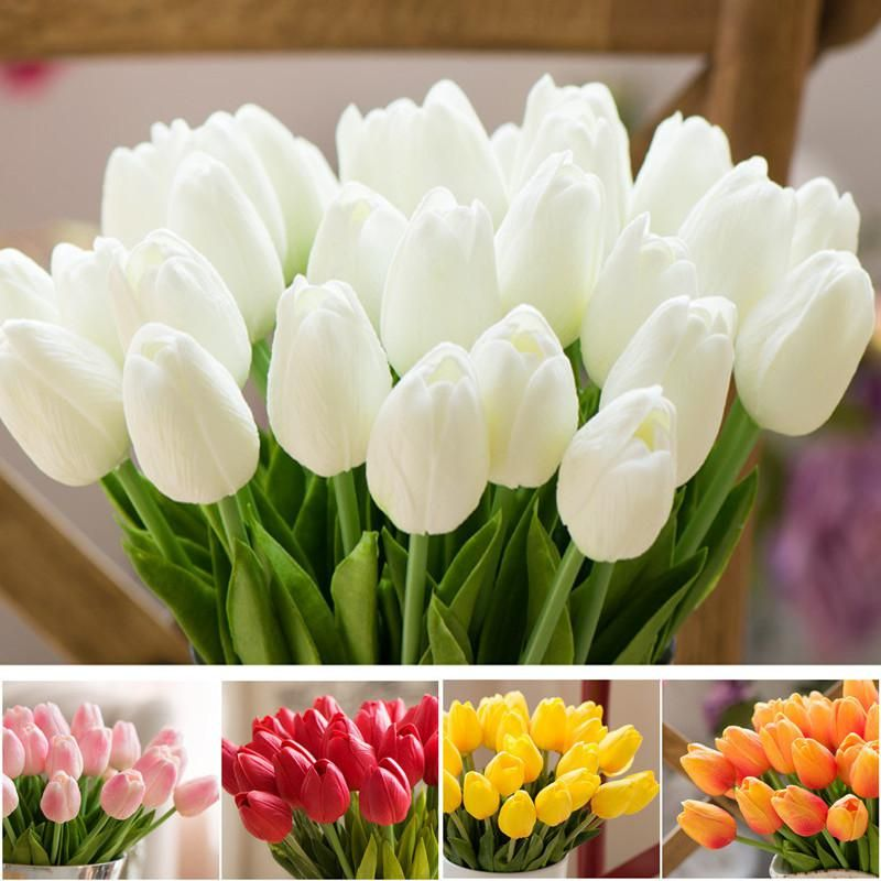 1 Pcs Fake Red Tulips Silk Tulip Artificial Flowers Tulips For Home Decoration Lot Artificial Flowers For Wedding Tulip Bouquets Artificial Bouquet Real Touch Wedding Flowers Artificial Flower Bouquet