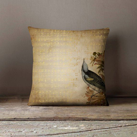 Golden Song Notes Bird Pillowcase Decorative Throw Pillow Cover