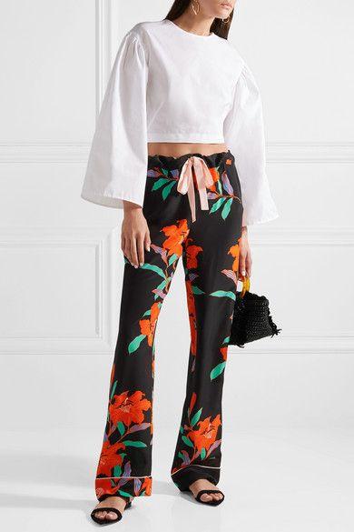 Floral-print Silk Crepe De Chine Straight-leg Pants - Black Diane Von Fürstenberg cjASe5