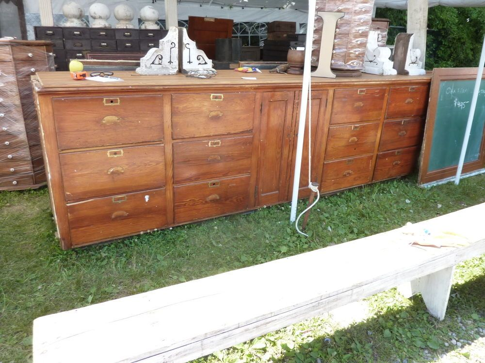 "Details about c1910-20 BUILT in PANTRY cabinet COUNTER multi drawer Heart pine 11' x 41"" x 25 ..."
