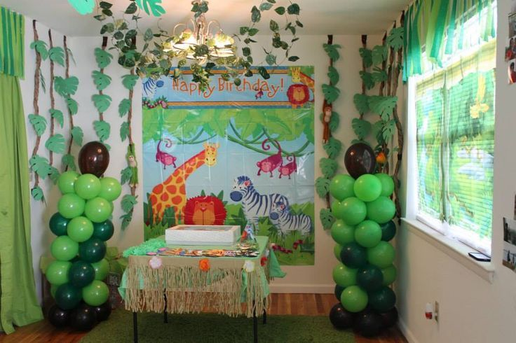 Safari Theme Backdrop Scene Setter From Party City And Diy Jungle