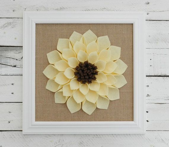 Large Framed Felt Flower with Burlap-Flower Wall Hanging,Burlap Wall ...