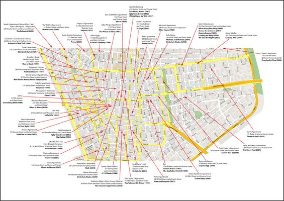 nyc map of downtown new york film location maps and apartments on the set of new york