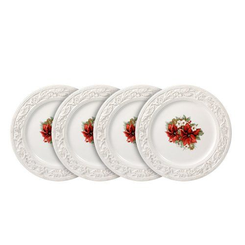 Pfaltzgraff Country Cupboard Poinsettia Accent Plates Set Of 4 White Country Cupboard Pfaltzgraff Plates