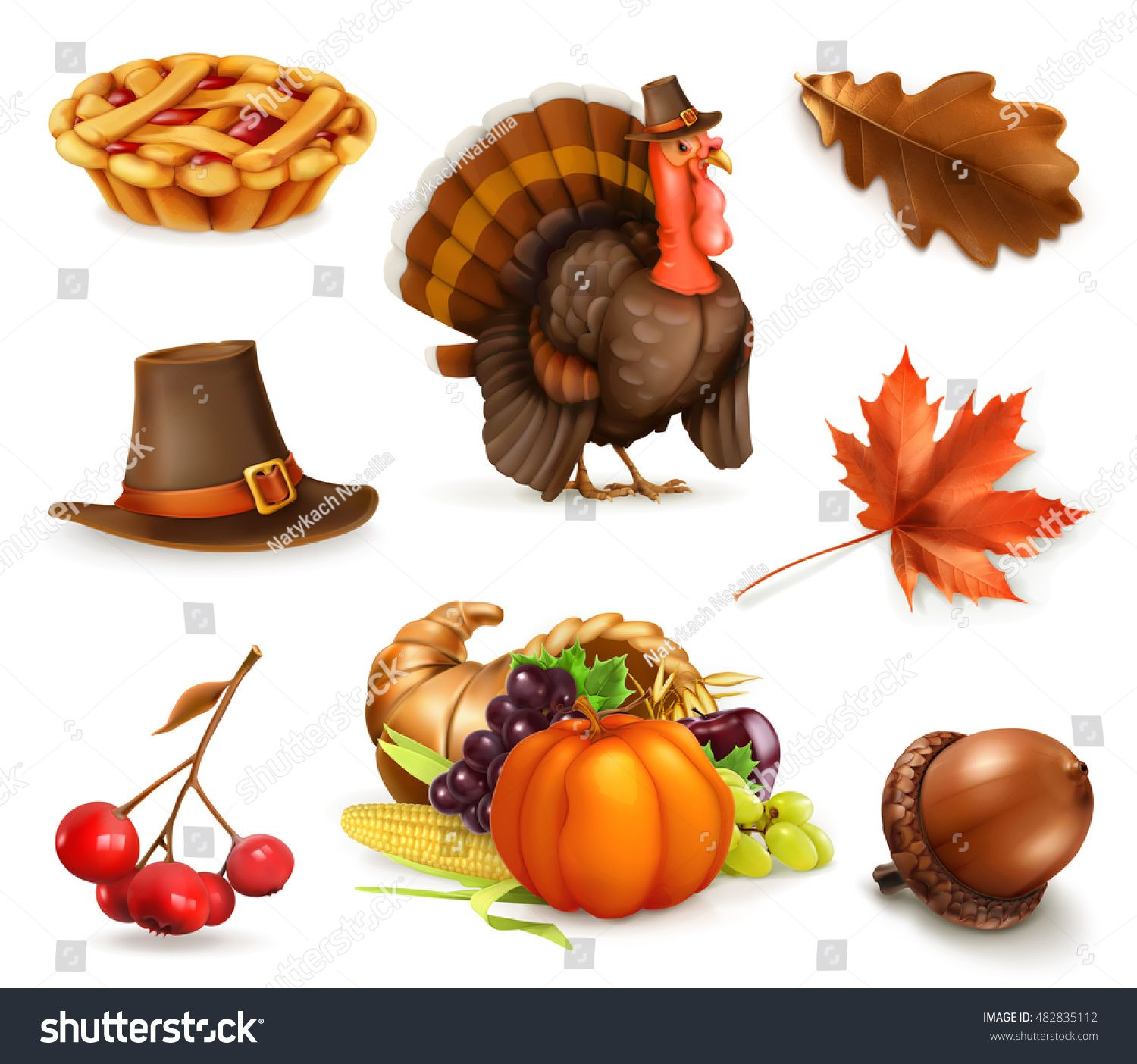 Happy Thanksgiving cartoon character and objects. 3d