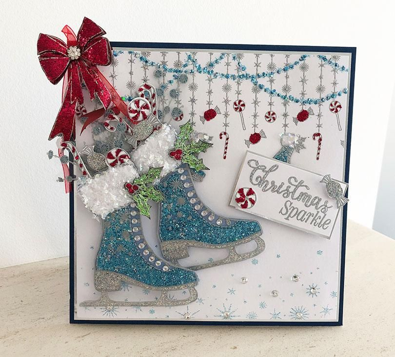 How to Make a Sparkly Ice Skate Christmas Card in 2020