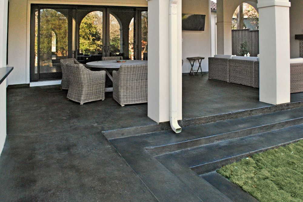 Stained Black Concrete Driveway Google Search Concrete Stain