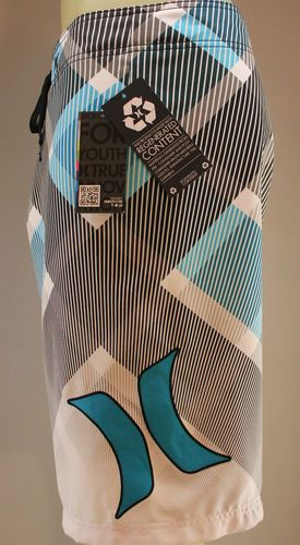 Hurley blue white & black board shorts made with recycled material swim trunks surf