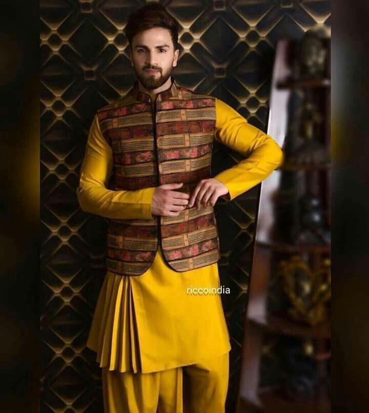 Mustard Shade Kurta With Jacket Men Trend