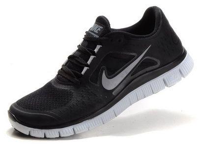 1b5e639c6a99a Nike Free Run +3 Mens Womens Black Silver