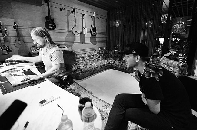 Adam Lambert and Max Martin work in the studio