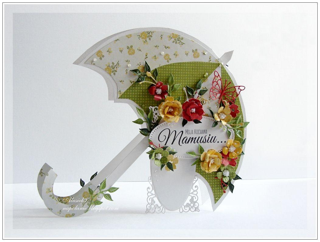 Открытка с зонтиком с цветами
