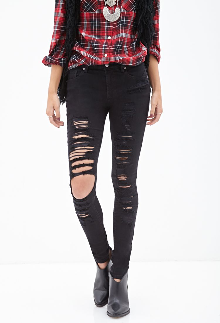 bfbdfff1a15 Low-Rise - Ripped Skinny Jeans | FOREVER21 - 2000102972 | Closet ...