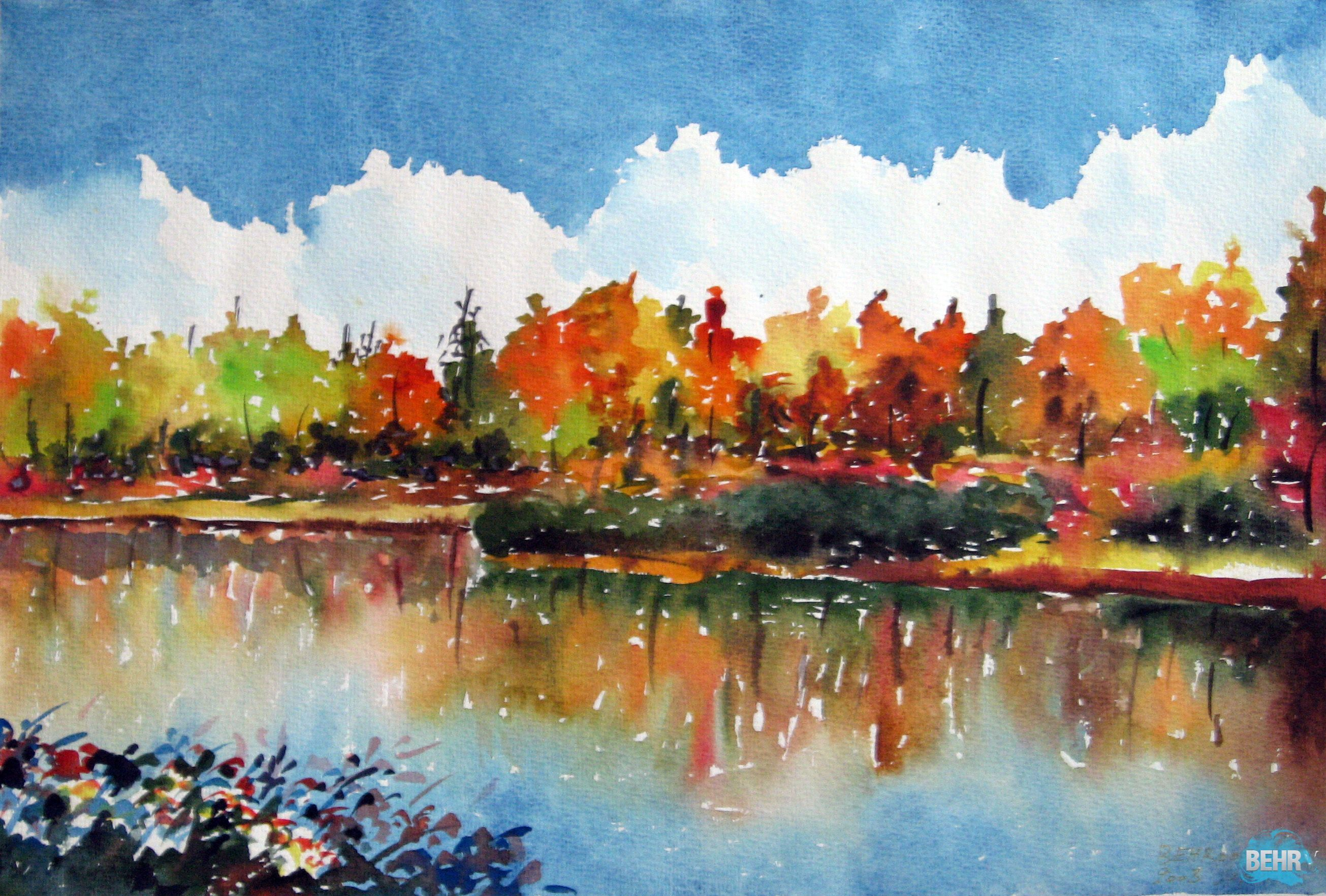 Watercolor painting landscape paintings watercolor for Fall paintings easy