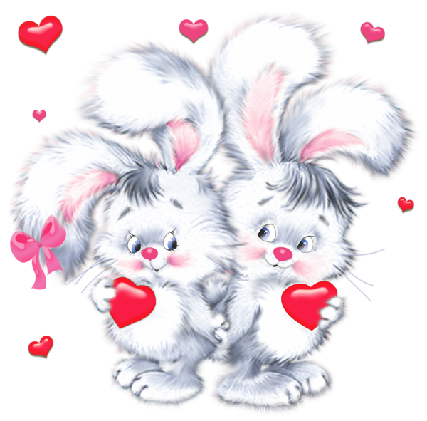 Bunnies With Heart Png Clipart Valentines Day Drawing Bunny Pictures Clip Art