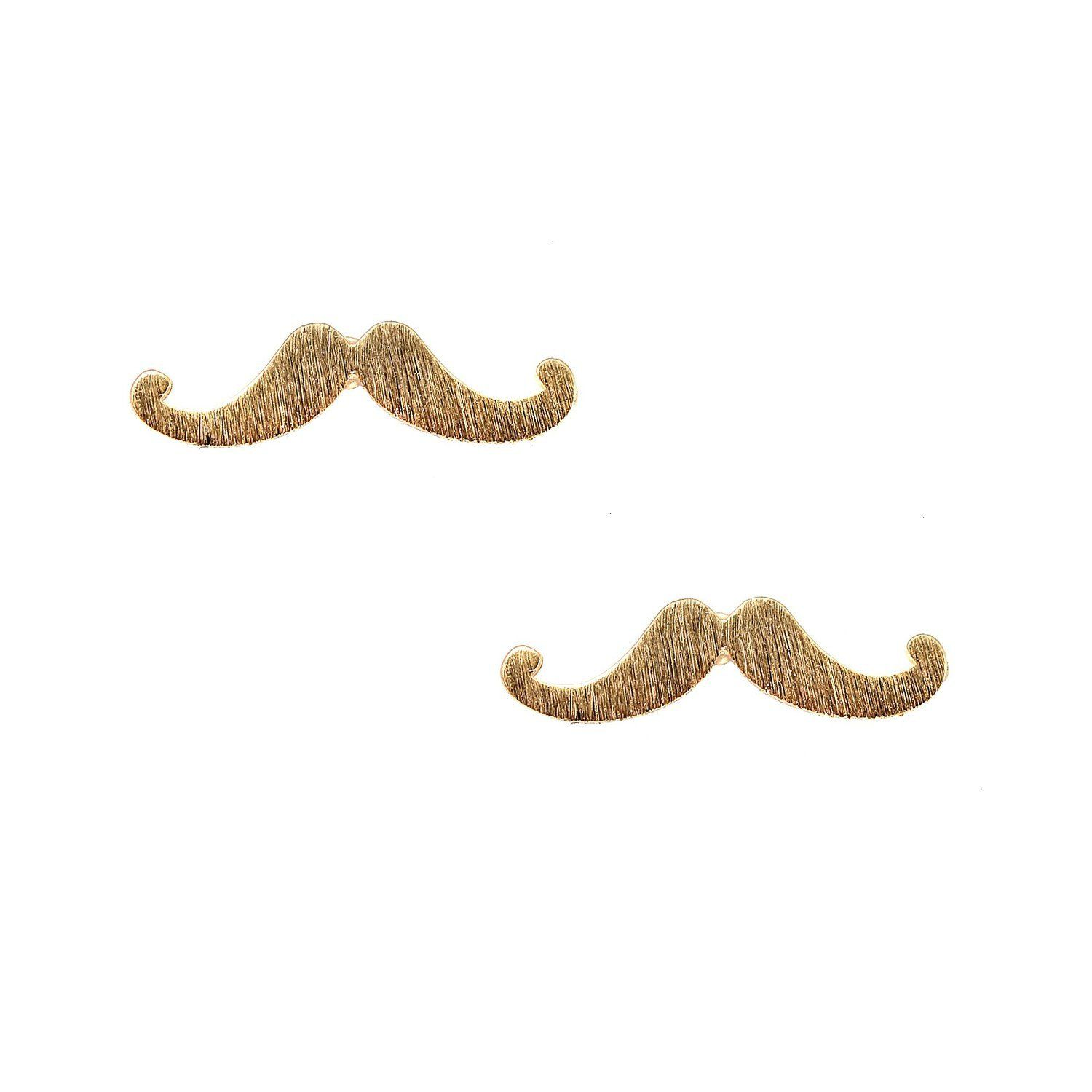 Handcrafted Brushed Metal Retro Mustache Stud Earrings