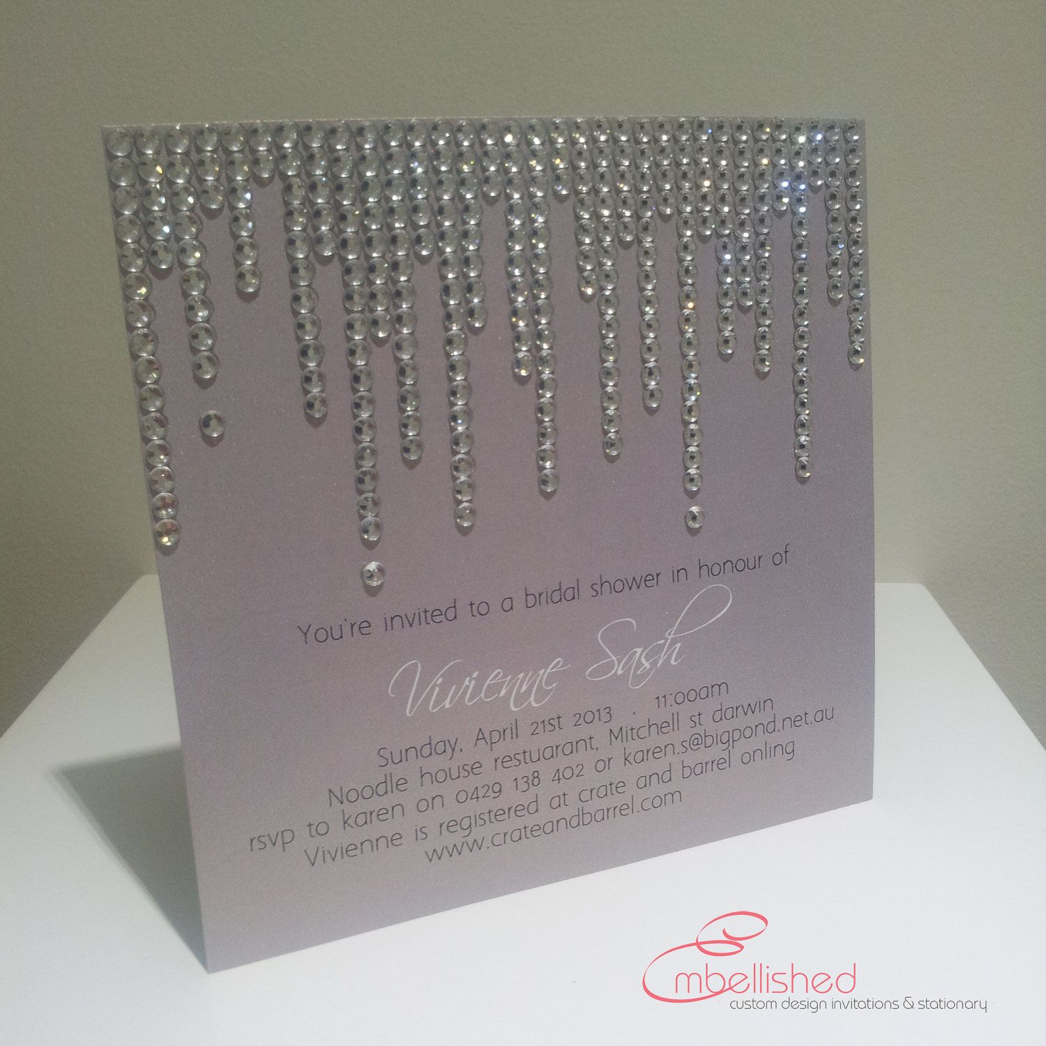 Bridal Shower Invitation With Crystal Shower Modern Bling Beautiful   SAMPLE