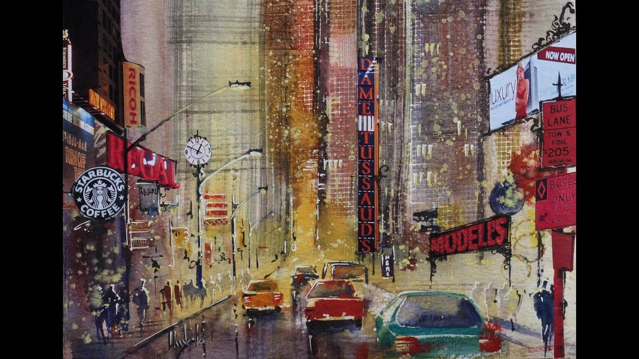 Watercolor Cityscape Watercolor Painting Youtube Watercolor