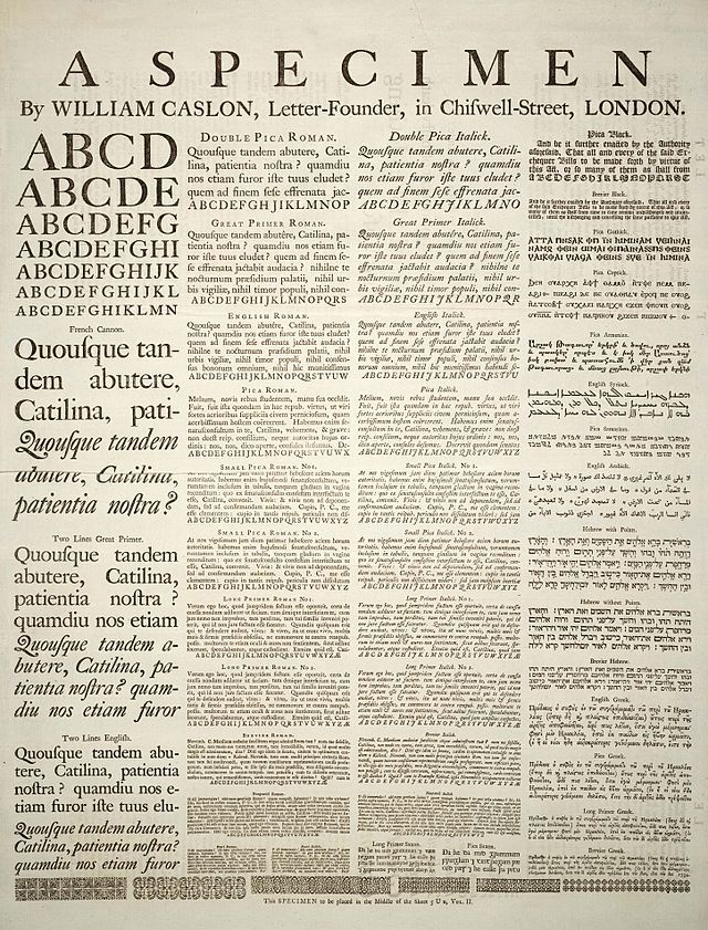 A specimen sheet of typefaces and languages, by William