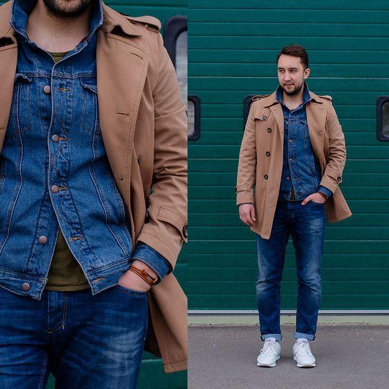 Get this look: http://lb.nu/look/7433424  More looks by Ilya Trifonenkov: http://lb.nu/trifonenkov  Items in this look:  Burberry Trench, Forever 21 Jacket, Bershka T Shirt, Pelagys Bracelet, Sisley Jeans, Pull & Bear Sneakers   #casual #minimal #street