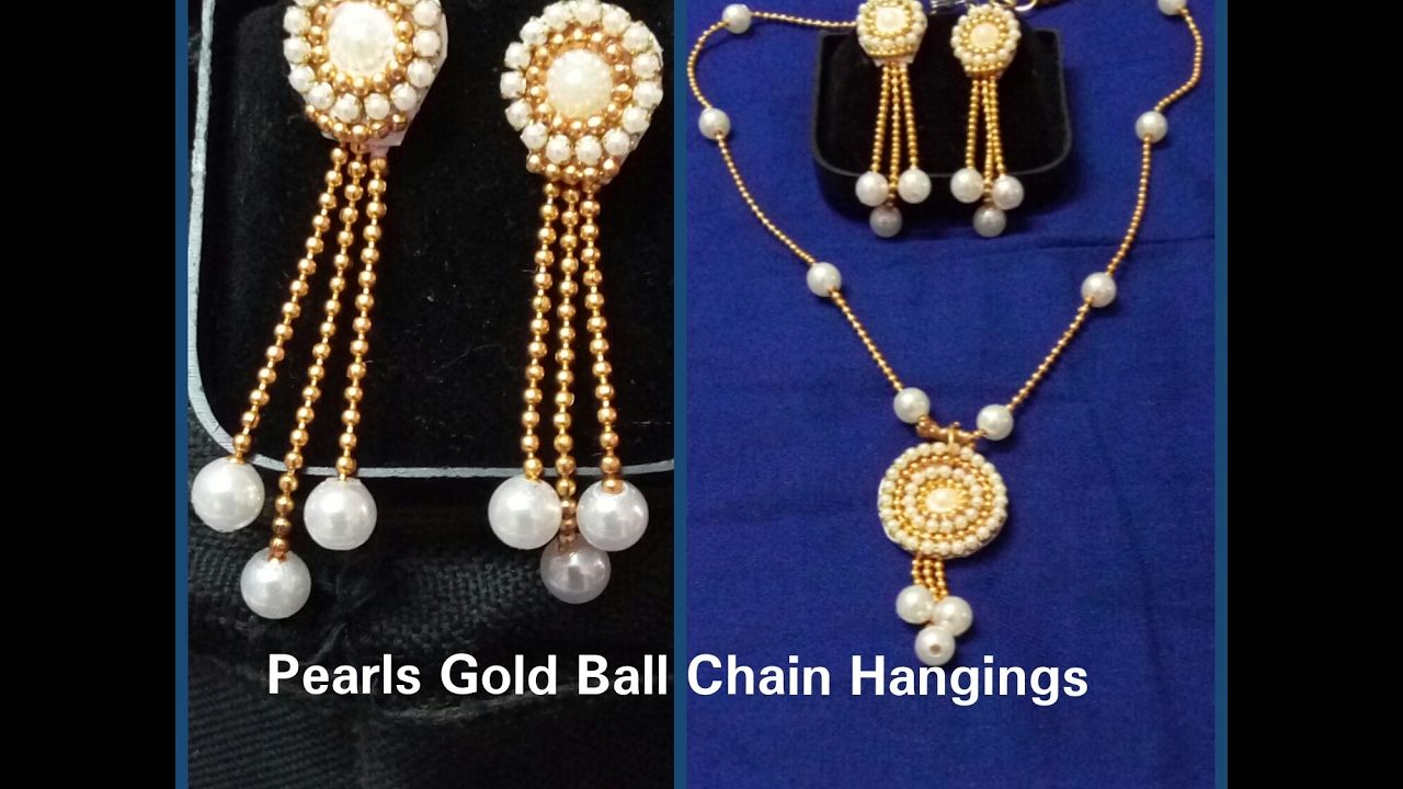 DIY/ How to Make Pearls Gold Ball Chain Hangings/ Earrings at Home ...