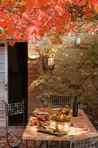 Autumn setted table for lunch