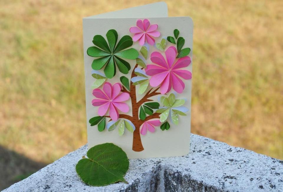 Самодельная открытка цветок