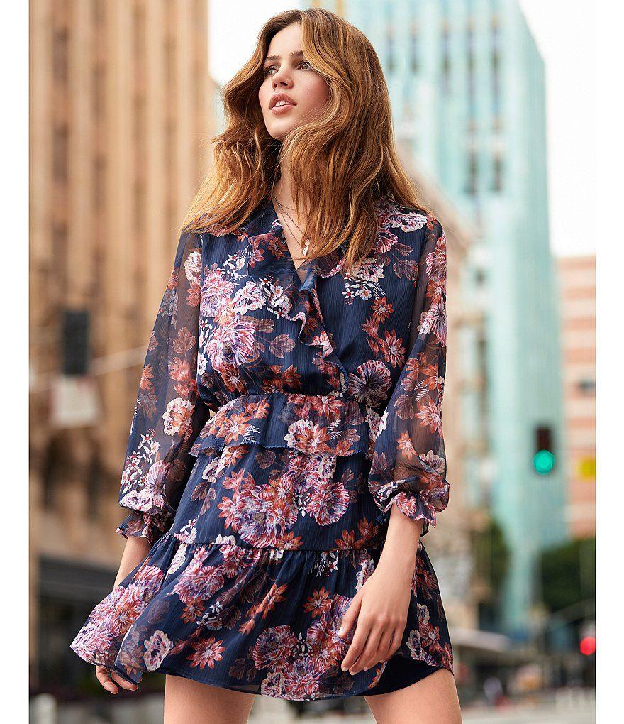 50765a465ea Gianni Bini Heidi Long Sleeve Floral Print Chiffon Faux Wrap Dress ...