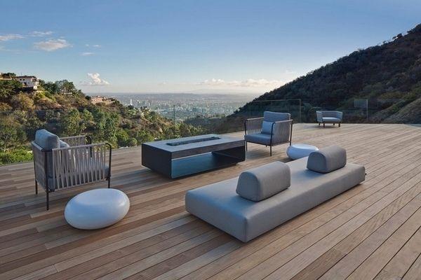 wood patio deck flooring modern furniture outdoor fireplace ideas
