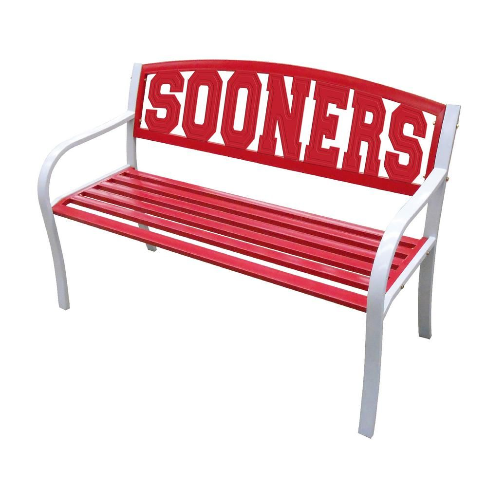 Leigh Country Oklahoma Sooners Metal Patio Bench TX 93565