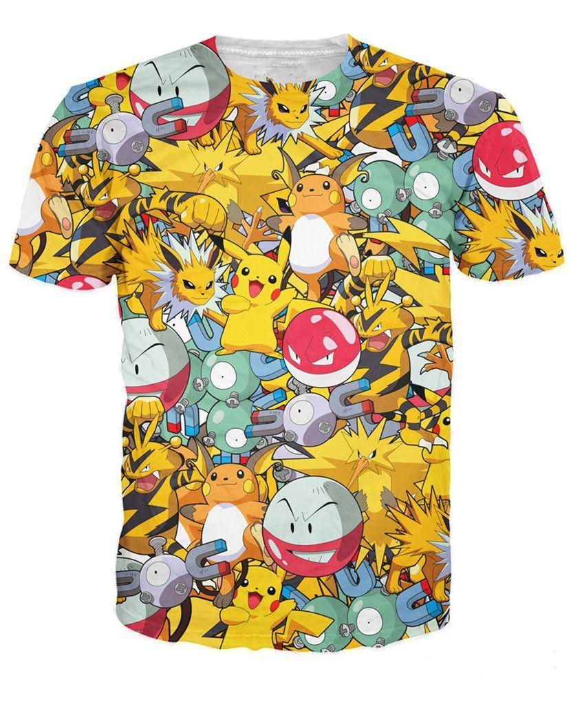 Pokemon pikachu t shirt vibrant cute cartoon kawaii tshirt summer