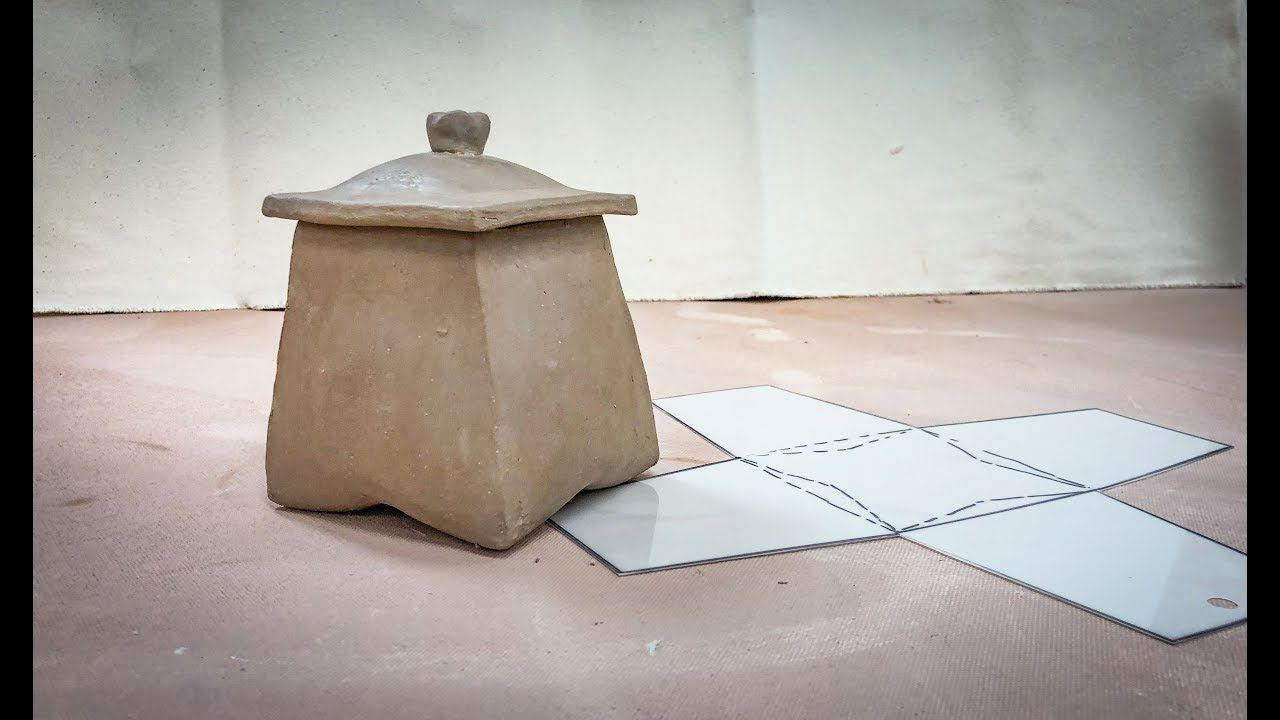 Creating a Folded Slab Lidded Pot from a One Piece Pattern - An Intermediate to Advanced Technique - YouTube