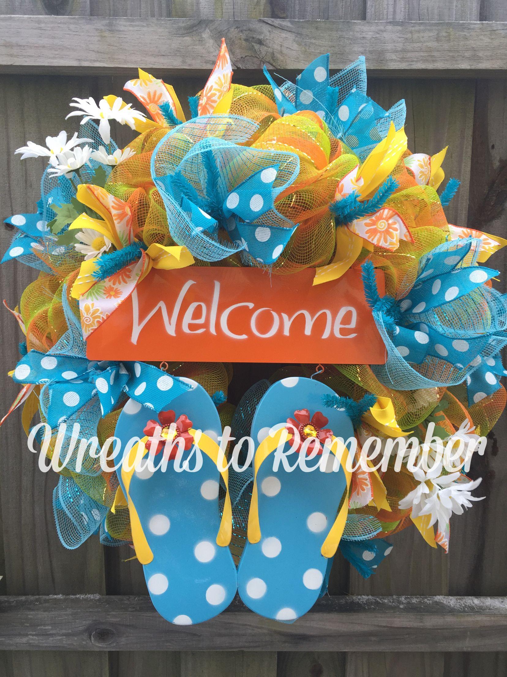 74552deb355f Summer flip Flops deco mesh wreath!!!