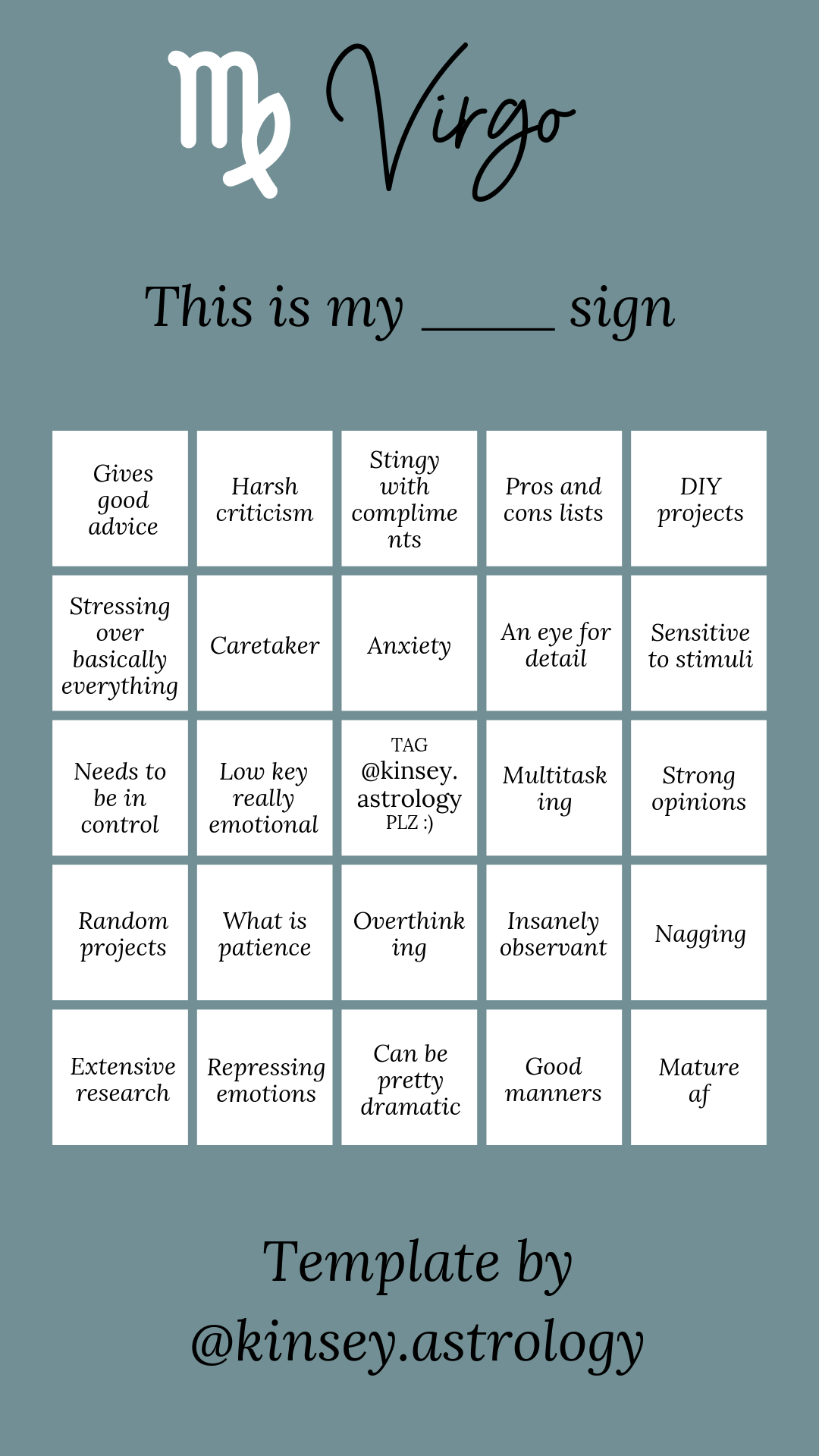 Virgo Virgo Bingo Virgo Bingo Template Virgo Bingo Instagram
