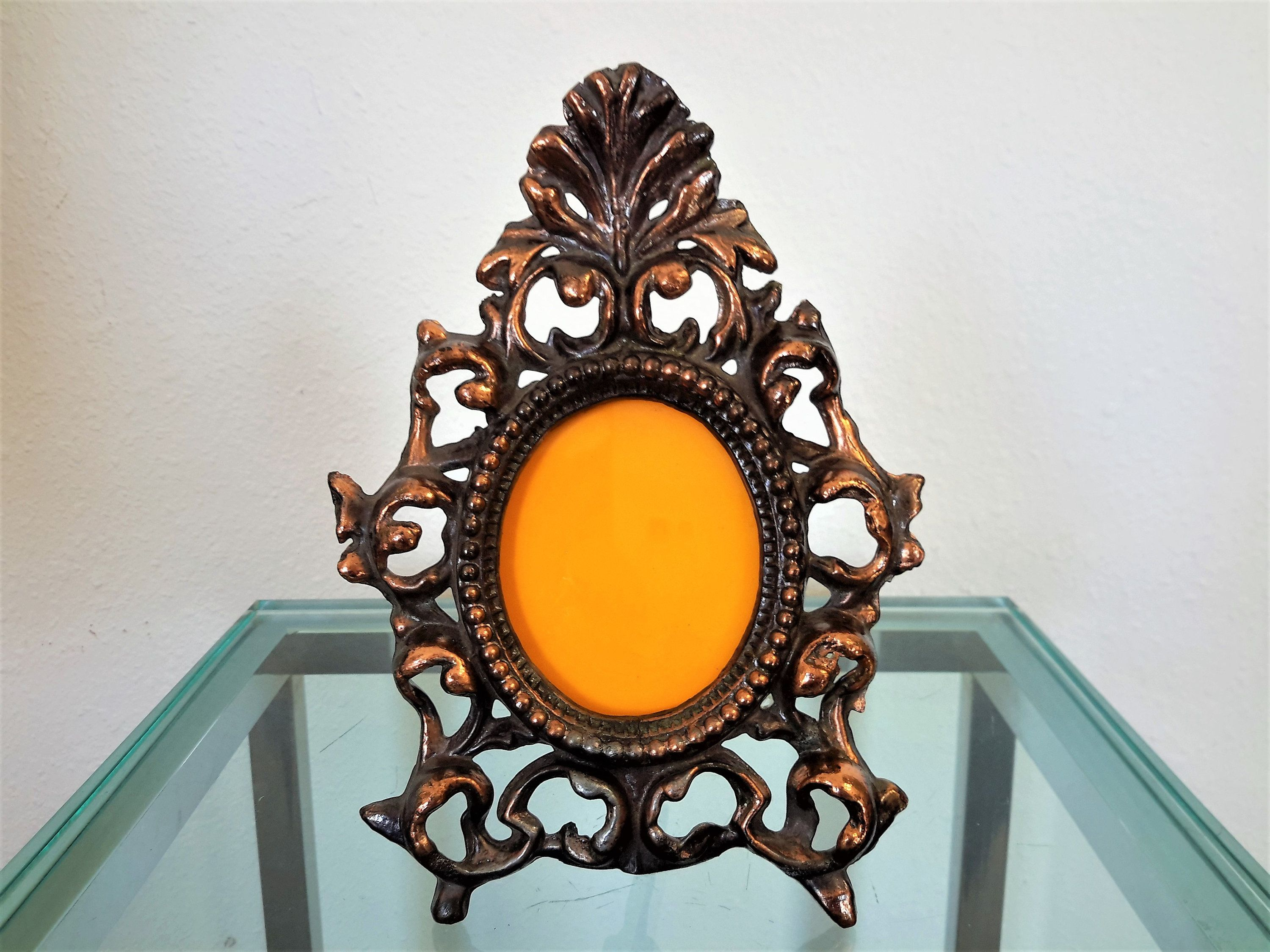 Cast metal picture frame copper colored cast iron