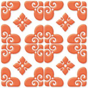 Bon Ton - Orange on White - Porcelain Tile