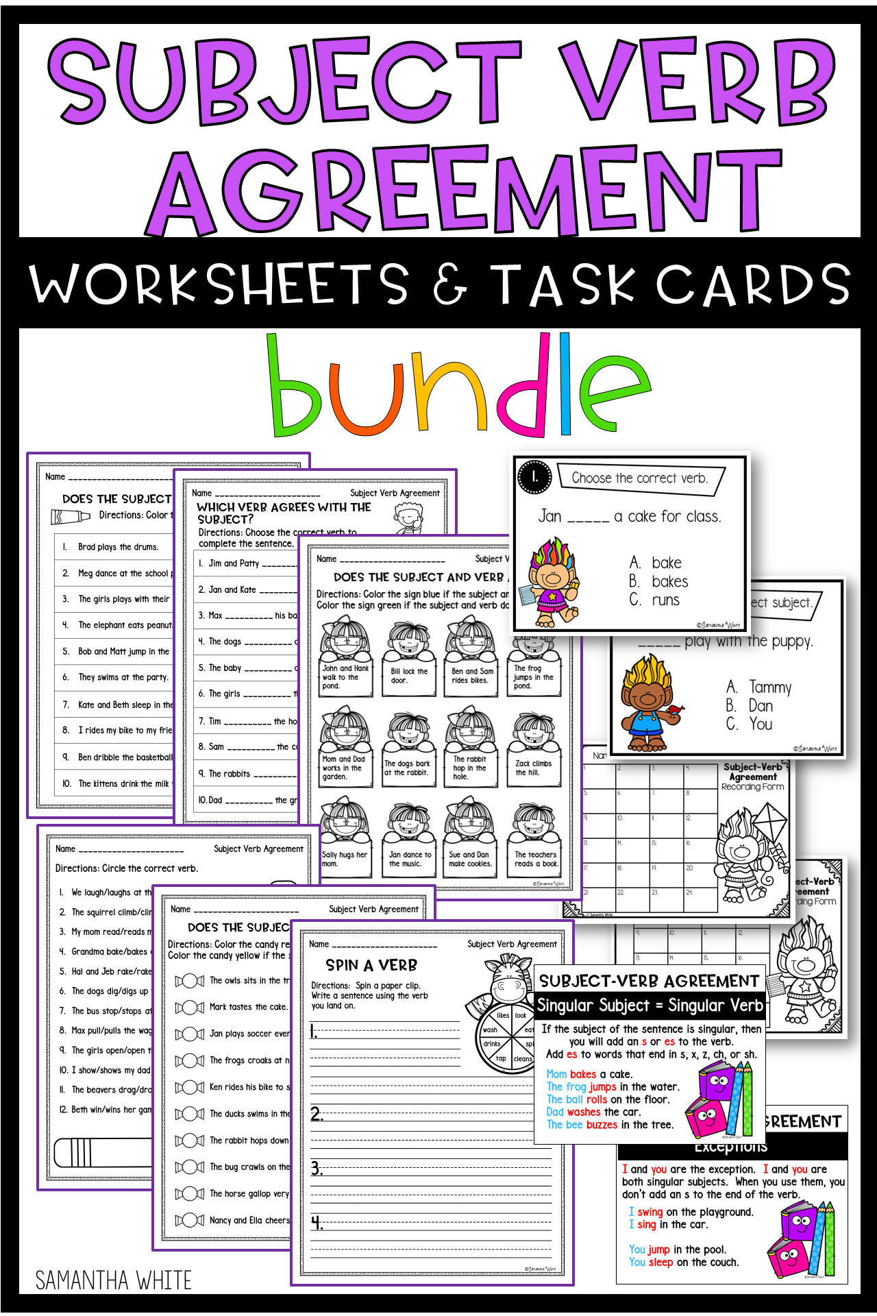 Subject Verb Agreement Worksheets And Task Cards Bundle