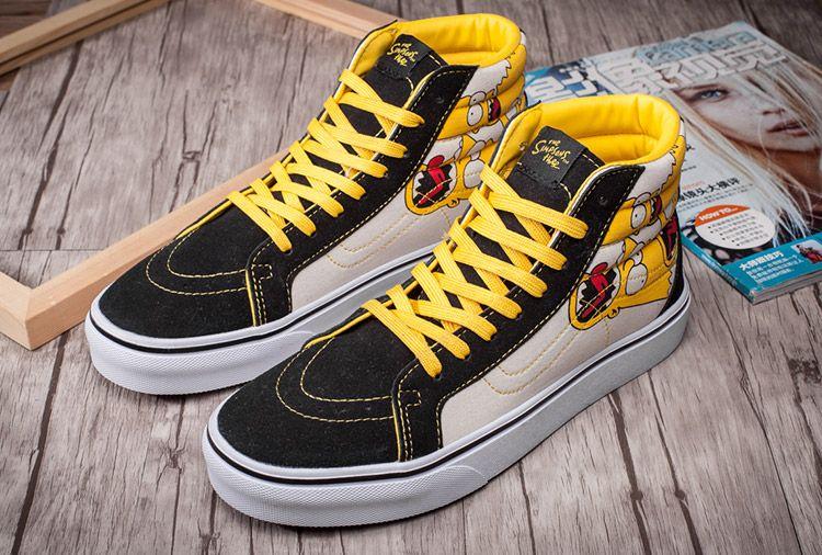 The Simpsons X Vans Sk8 Hi Skate Shoes Yellow Black Vans Vans Hi Vans Slip On
