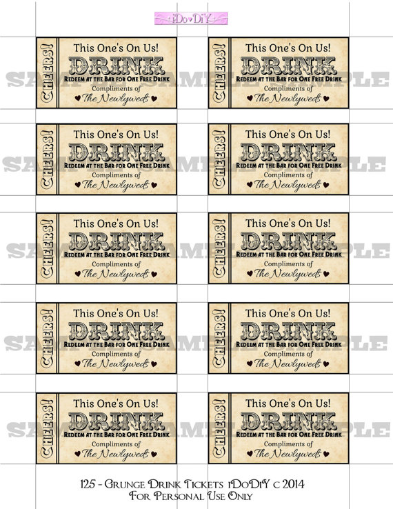 Printable Drink Tickets Sheets - Worksheet & Coloring Pages