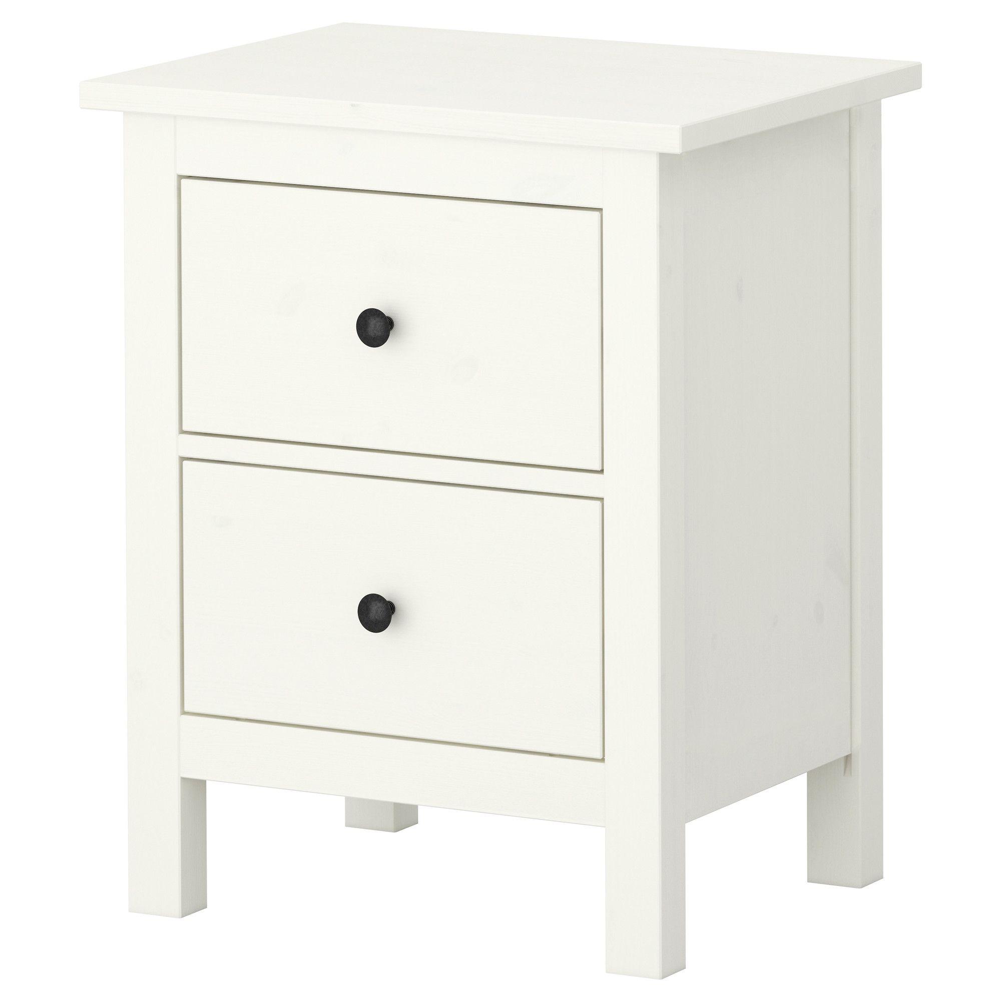 HEMNES Kommode med 2 skuffer - hvit beis, 54x66 cm - IKEA