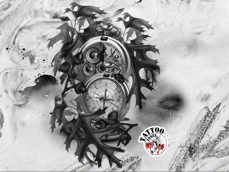 Kompass bleistiftzeichnung  kompass uhr zeit tattoo | Ärmel | Pinterest | Uhr zeit, Kompass ...
