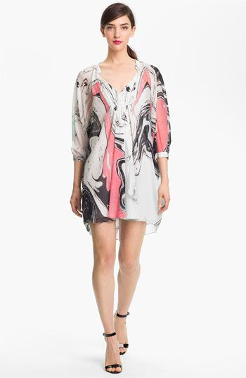 Diane von Furstenberg 'Fleurette' Print Silk Caftan Dress available at #Nordstrom
