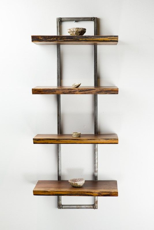Wall Shelf reclaimed black walnut wood wall shelf | beautiful, metal frames