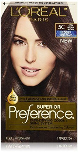 L Oreal Superior Preference Hair Color 5c Cool Medium Brown Pack