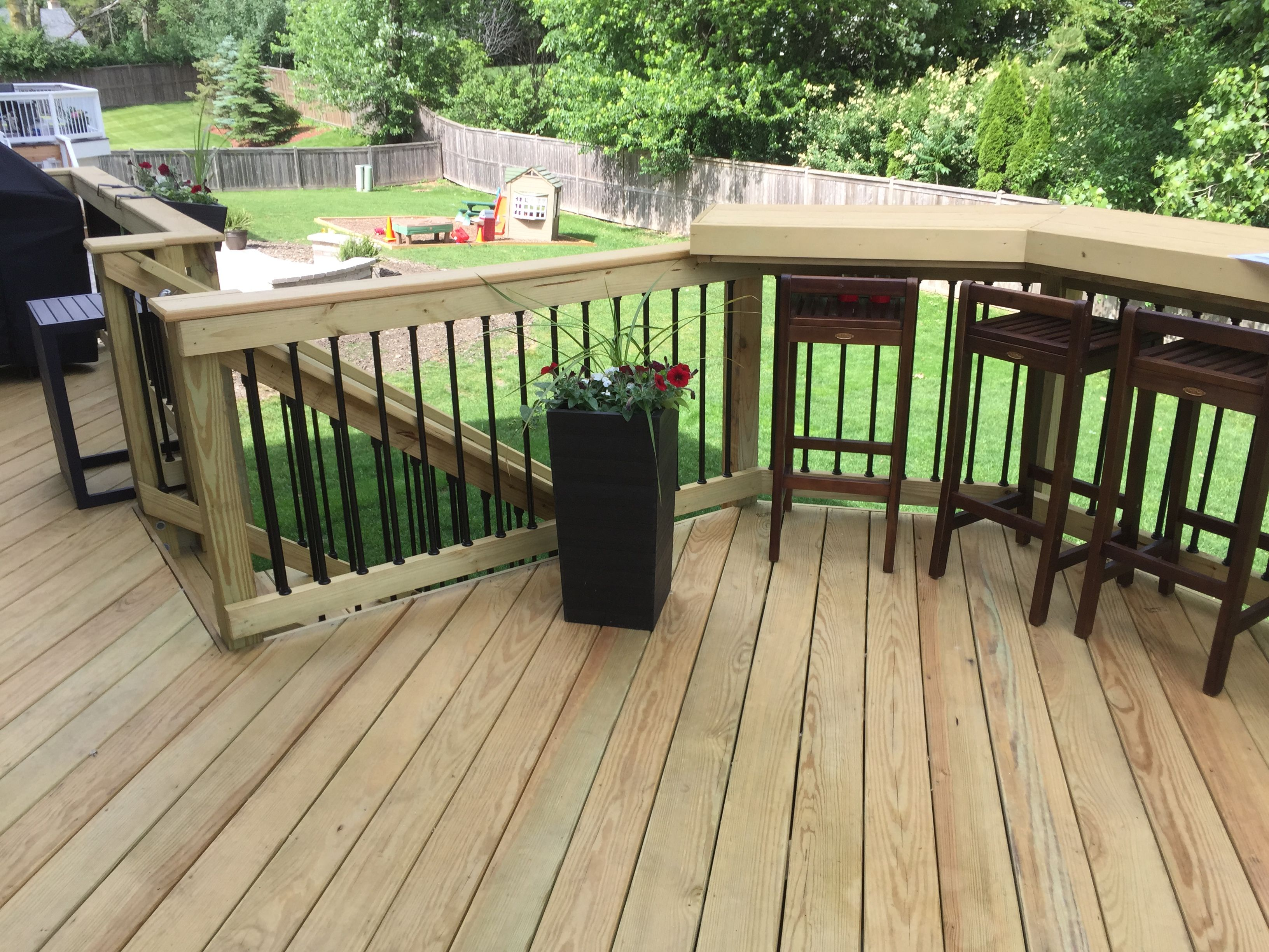 deck with built in bar by palatine il deck builder wood decks