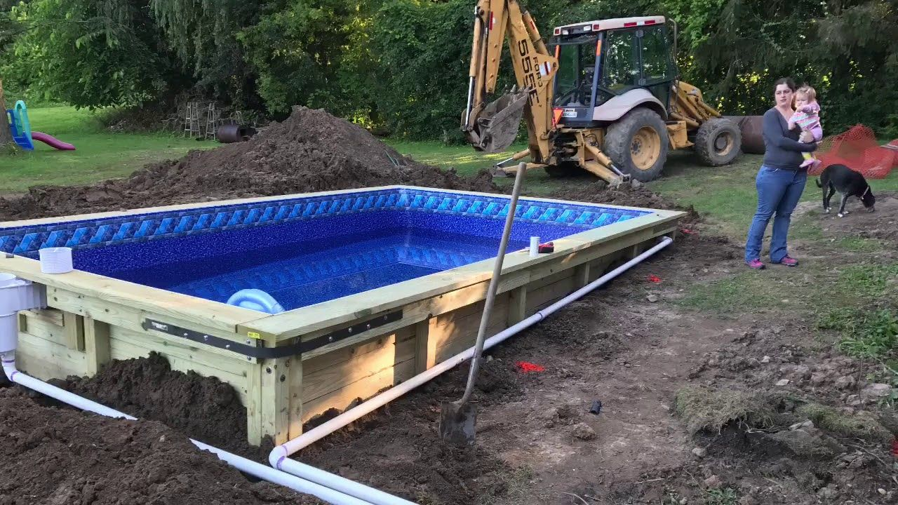 Diy Wood In Ground Swimming Pool Wood Diy Diy Swimming Pool Swimming Pools