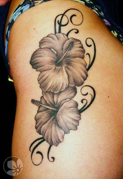 Black Hibiscus Flowers Tattoo On Side Rib For Women Hibiscus