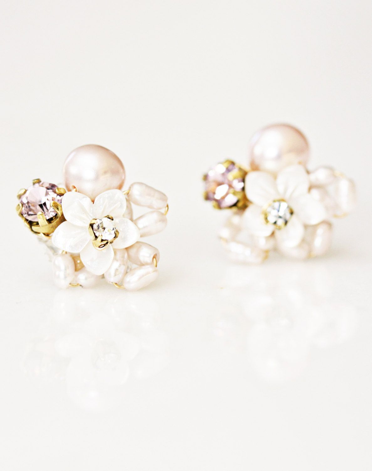 Little Mother Of Pearl Flower And Rhinestone Cer Stud