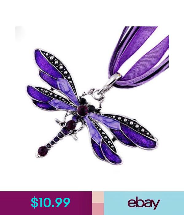 Lady Purple Dragonfly Charms Necklace Chain Rhinestone Inlay Gemstone Pendant Ebay Fashion Dragonfly Charm Necklace Dragonfly Jewelry Chains Necklace